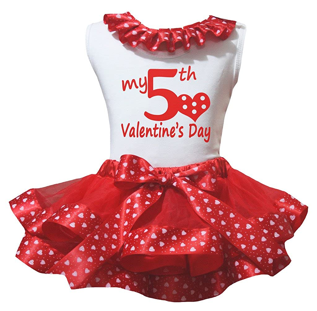 Petitebella My 5th Valentine Day White Shirt Red Heart Petal Skirt Outfit Nb-8y