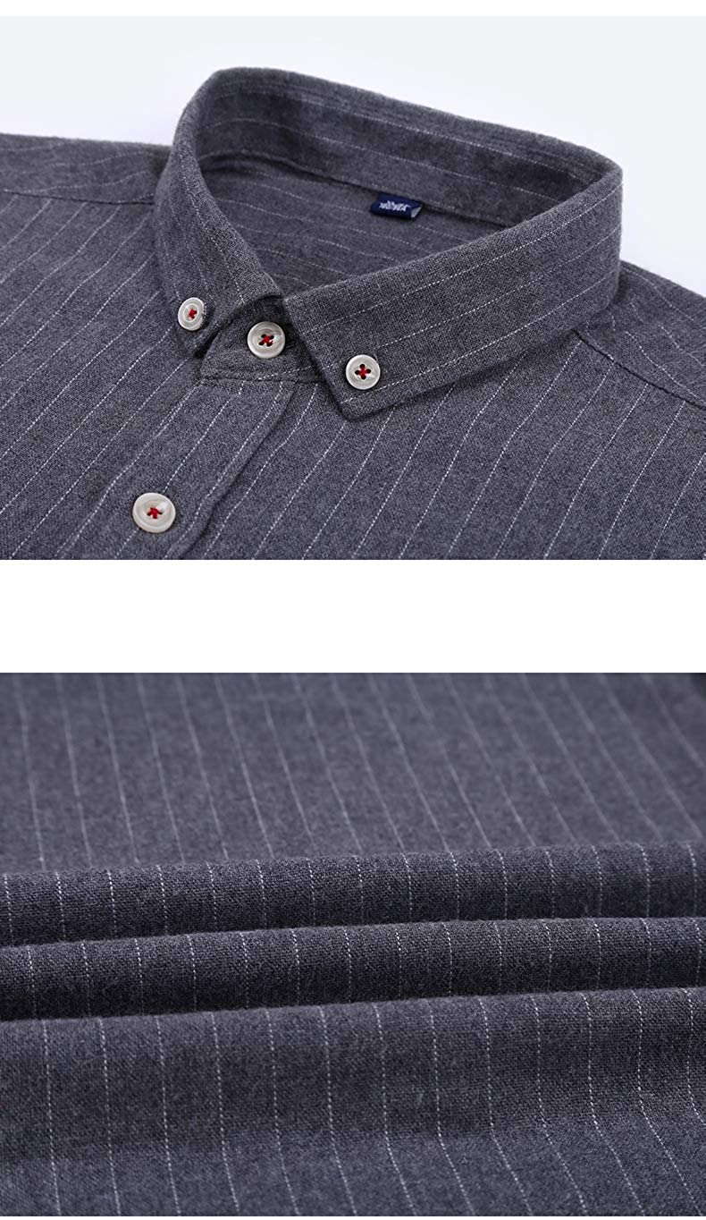 Elonglin Homme Chemise Manches Longues en Coton Casual Business Slim Fit sans Repassage Uni Chemises Infroissable