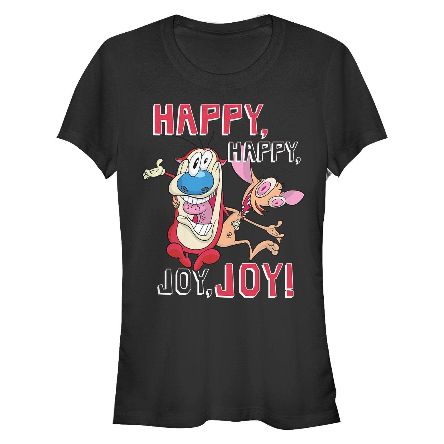 Fifth Sun The Ren & Stimpy Show Juniors' Happy Happy Joy Joy Black T-Shirt