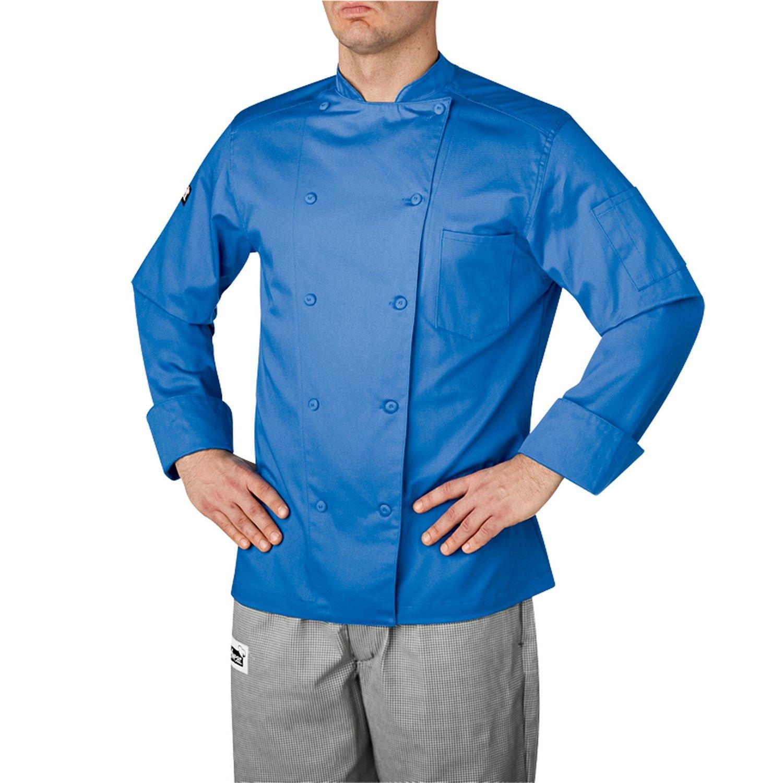 Chefwear有機コットン従来シェフコートブルー(5005 ) L Large  B077NM1MFB