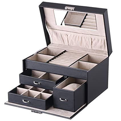 a4af11ea3 BEWISHOME 20 Section Jewelry Organizer Box with Lock Portable Jewelry  Storage Case for Women Girls Earring
