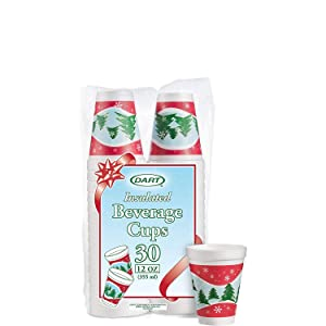 DART 12J30X Holiday Printed Cups, White Insulated Foam Cup, 3.5