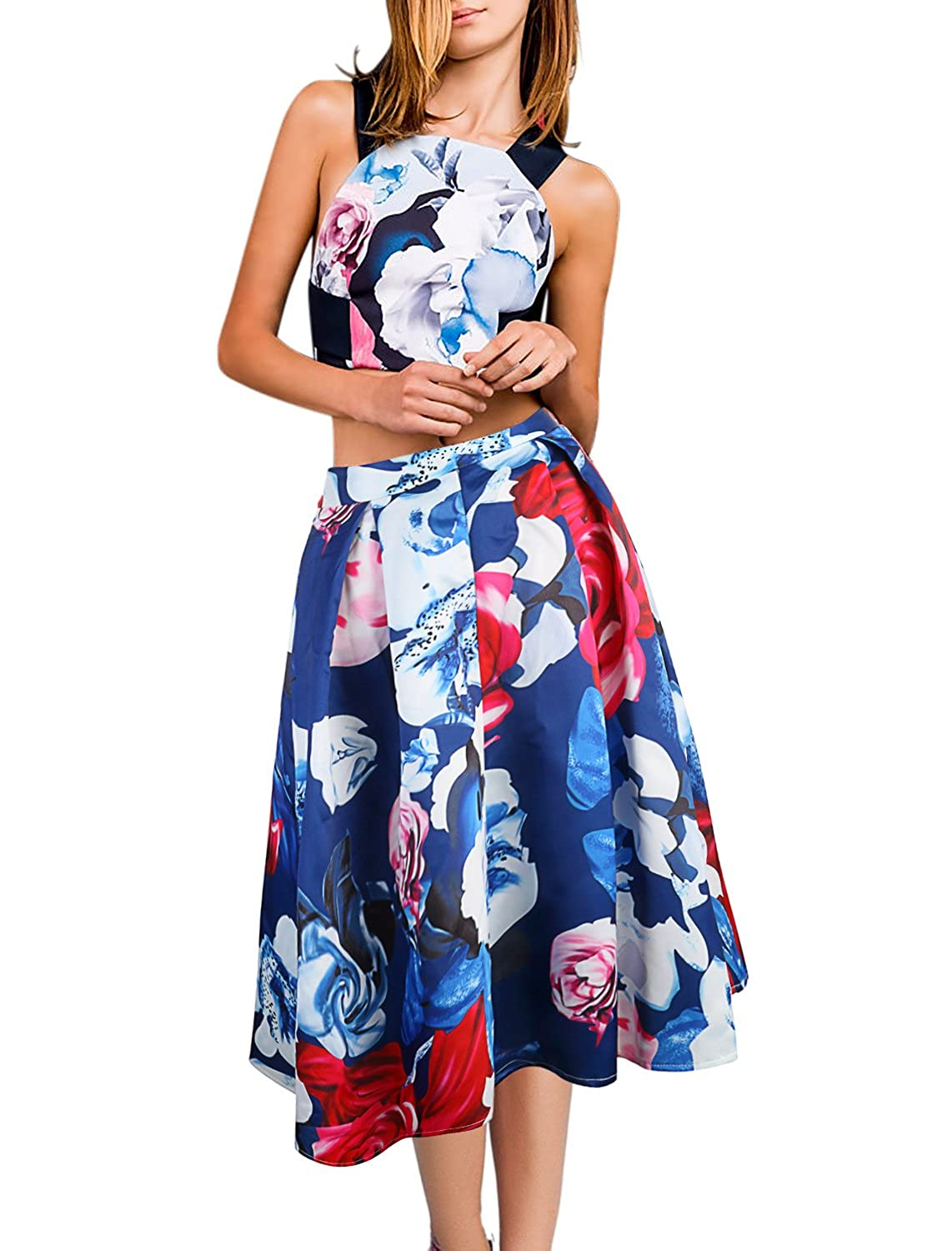 8be620c42a Top Features: Sexy Open Back Cross Strap, Floral Print, sleeveless, zipper  back, soft and breathable fabric,comfortable to wear. Skirt Features: High  waist, ...