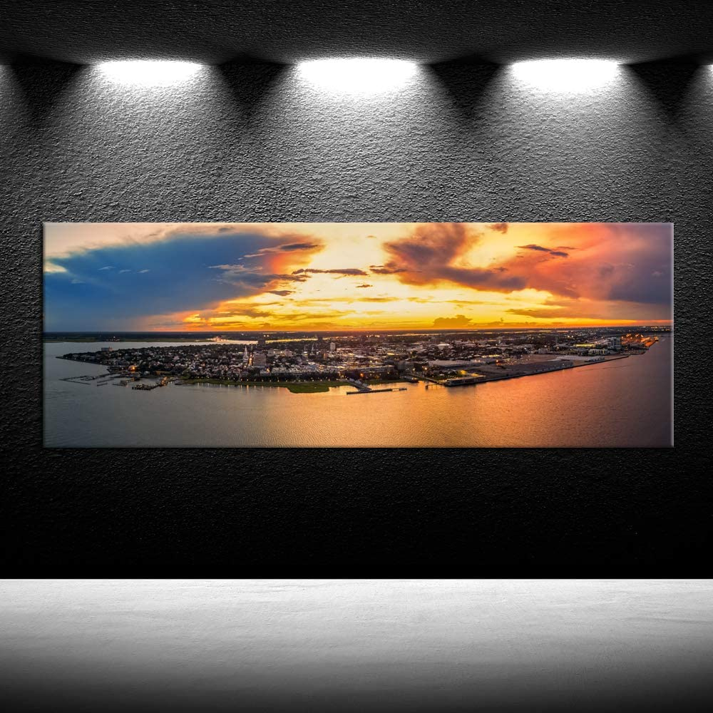 Iknow Foto Charleston Skyline Wall Art Charming Sunset Landscape Canvas Print City Photos Wall Poster Panoramic Image Giclee Artwork Gallery Wrapped Canvas On Pine Wooden Frame Ready To Hang 55x20inch Amazon Ca Home