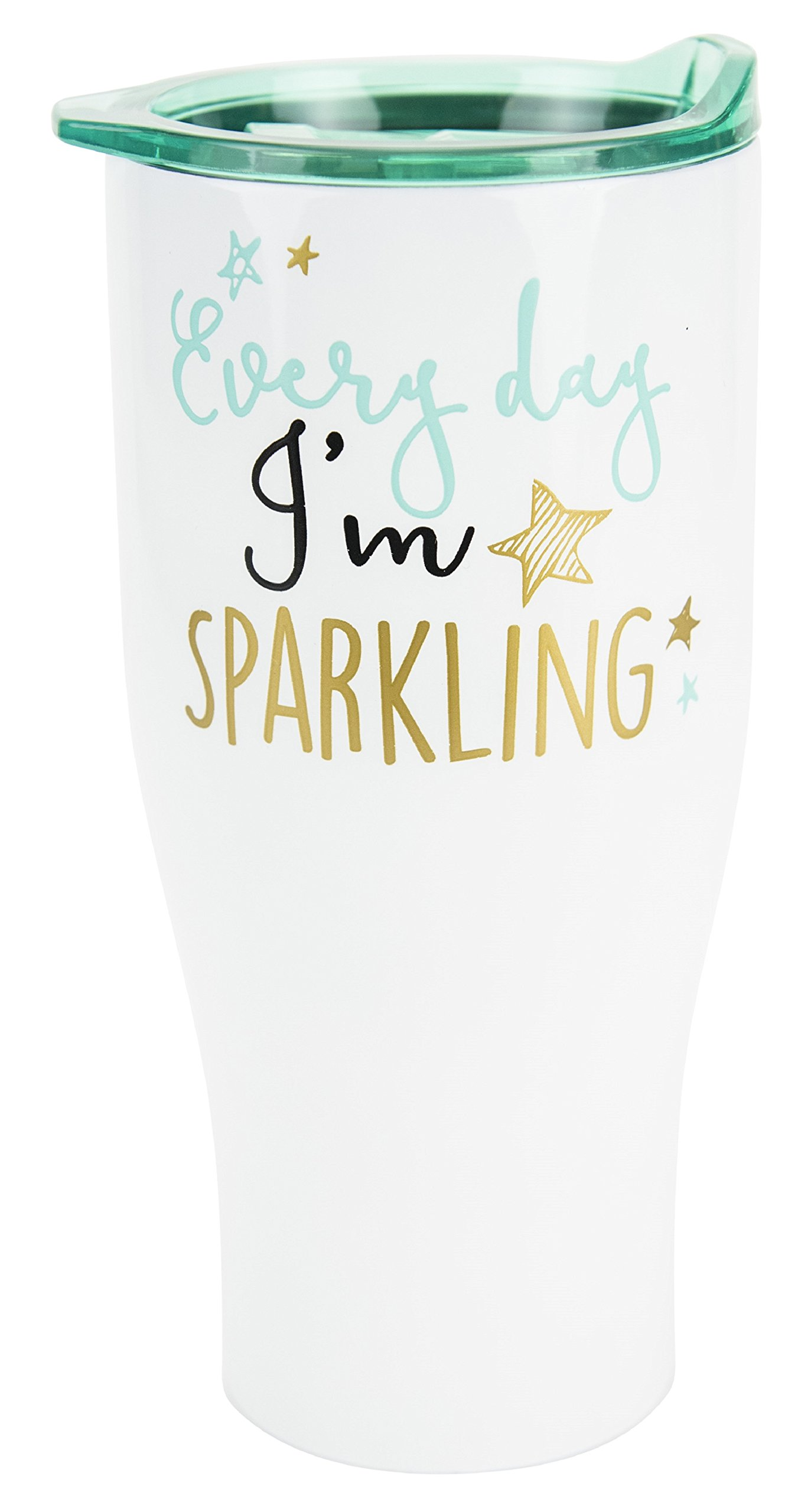 Boston Warehouse 30-Ounce Stainless Steel Insulated Double Wall Travel Tumbler with Lid, Glossy White- Every Day I'm Sparkling
