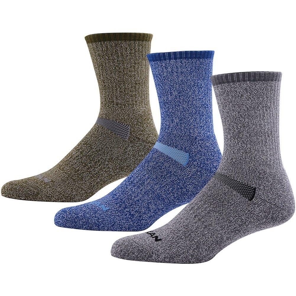 MK MEIKAN Thick Wool Hiking Socks, Outdoor Wool Sport Half Cushion Smooth Toe Seam Light Hikers 1/4 Crew Trekking Socks 3 Pairs, 1 Charcoal, 1 Navy Blue, 1 Army Green by MK MEIKAN