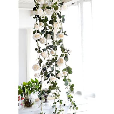 Get Orange 2 Pack 72 Inch rose Garland Artificial Rose Vine with Green Leaves Flower Garland For Home Wedding Decor (2, White)