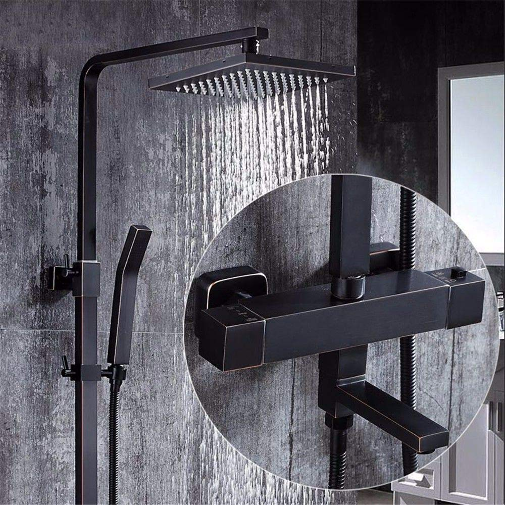 A14 Hlluya Professional Sink Mixer Tap Kitchen Faucet Black shower faucets booster is fully copper hanging wall antique four-door shower kit,A19