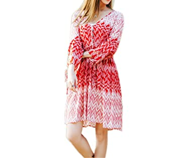Amazon.com: Twilaisaac Fashion novo c dress chiffon rosa loose women dress impresso beach dress bonito vestidos de primavera do sexo feminino flare manga: ...