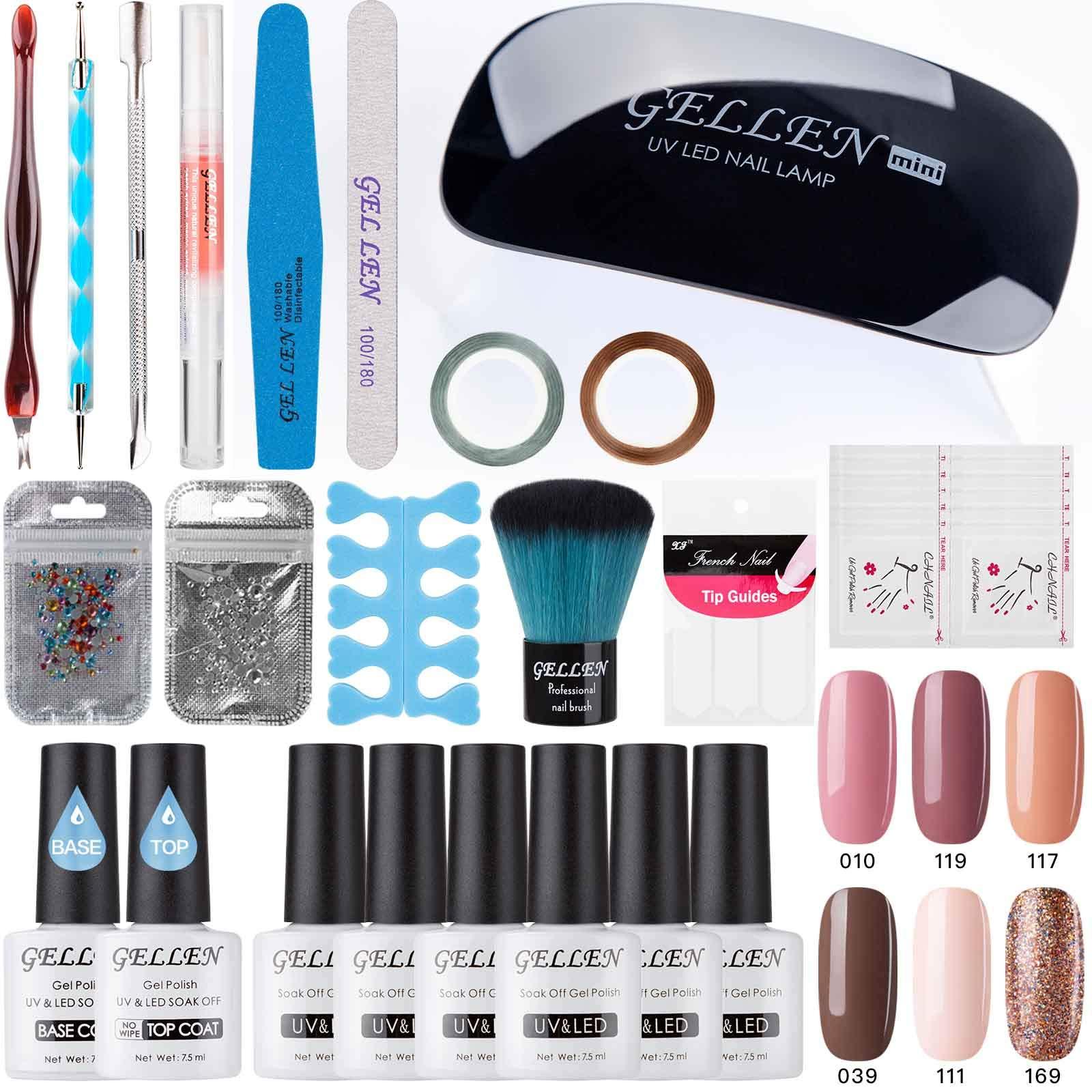 Gellen Gel Nail Polish Starter Kit - Selected 6 Colors, with Top Coat Base Coat Nail LED Lamp Nail Art Design Tools, Portable DIY Home Gel Manicure Set 002