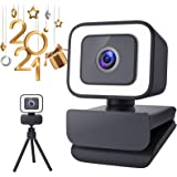 Webcam with Microphone, MOSONTH 1080P Web Camera with Light, Tripod Stand, Fixed-Focus, Auto Light Correction, for Video Conf