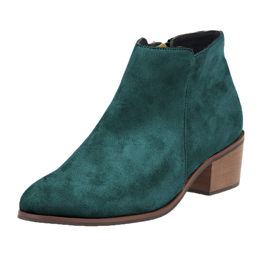 ZriEy Women's Faux Velvet Suede Chunky Heel Boots Pointed Toe Casual Winter Ankle Shoes Velvet Green size 9