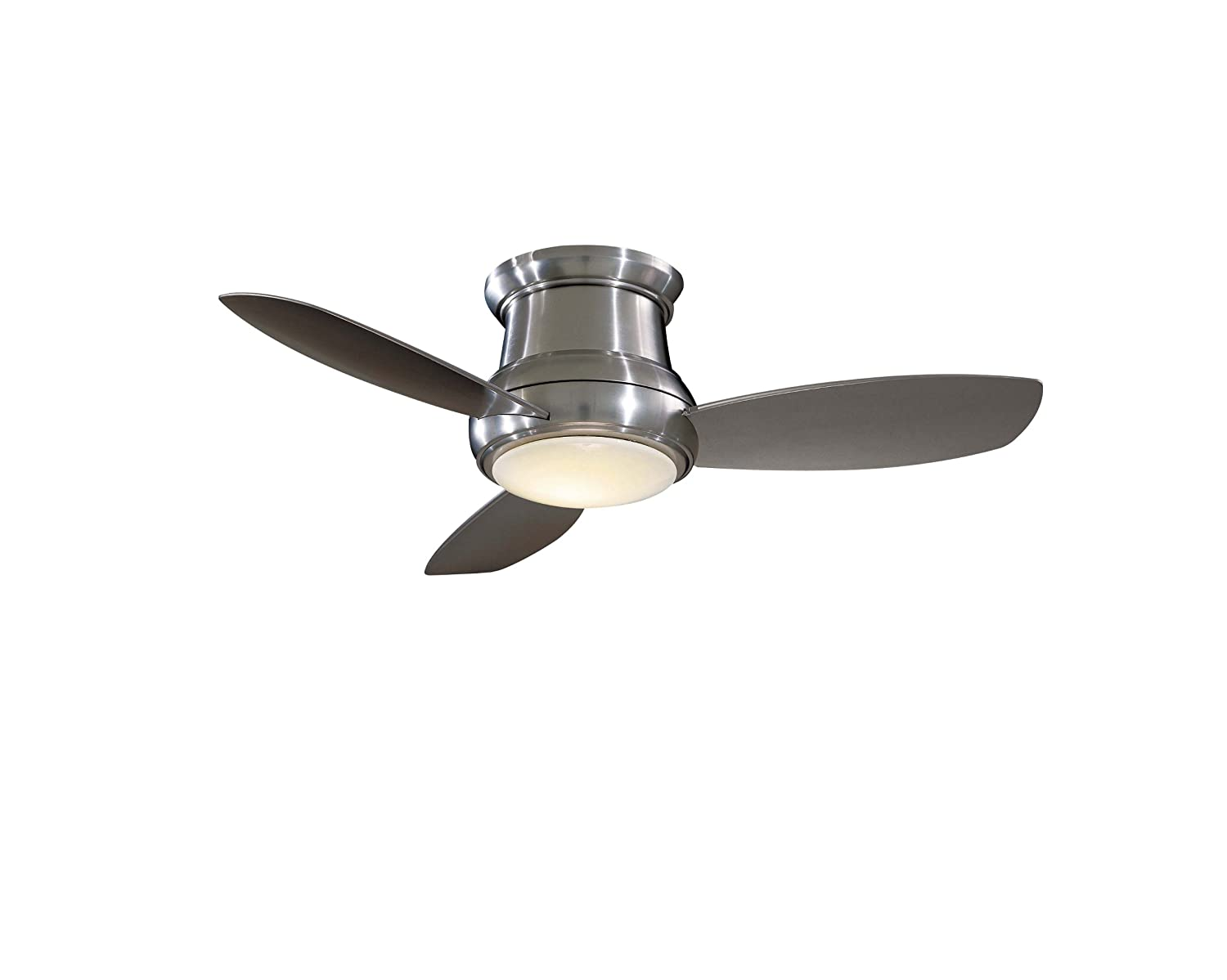Minka Group Company F518-BN Flush Mount, 3 Silver / Pewter Blades Ceiling  fan with 100 watts light, Brushed Nickel