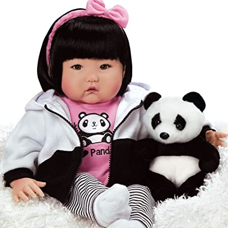 """Paradise Galleries Lifelike Asian Reborn Baby Doll With Panda and Accessories, 20""""Bamboo, 20"""""""