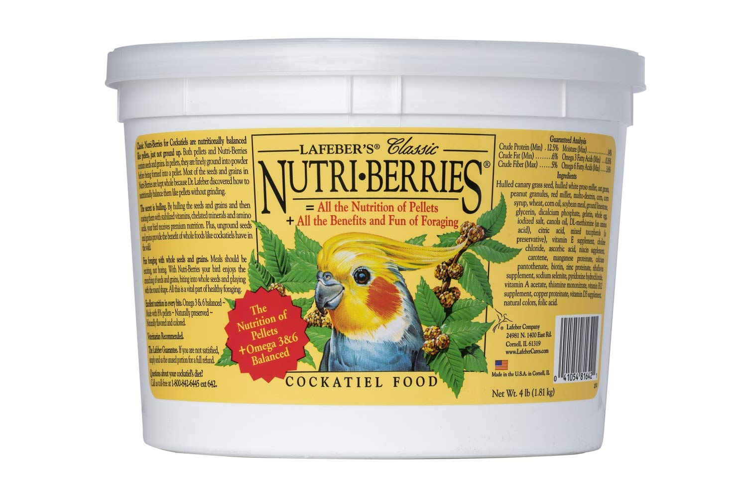 LAFEBER'S Classic Nutri-Berries Pet Bird Food, Made with Non-GMO and Human-Grade Ingredients, for Cockatiels, 4 lbs by LAFEBER'S