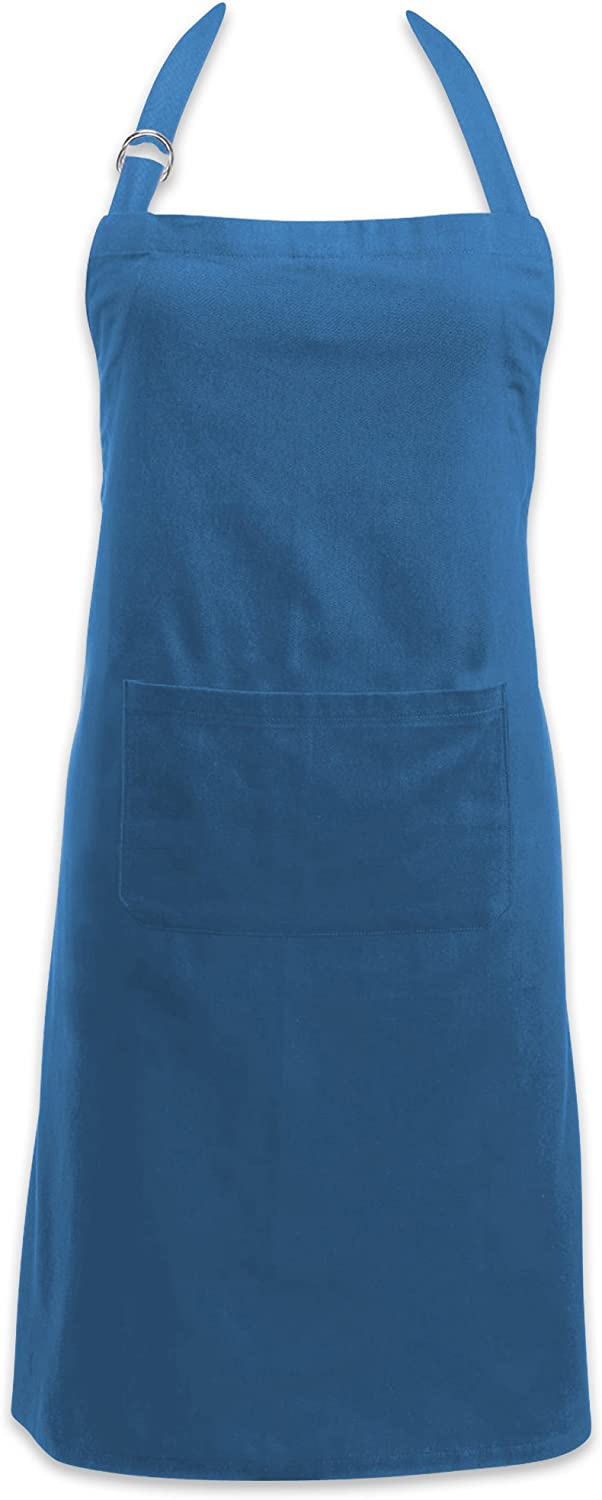 DII Adjustable Neck & Waist Ties with Front Pocket, 32x28 Apron Chino Chef Collection, Blue