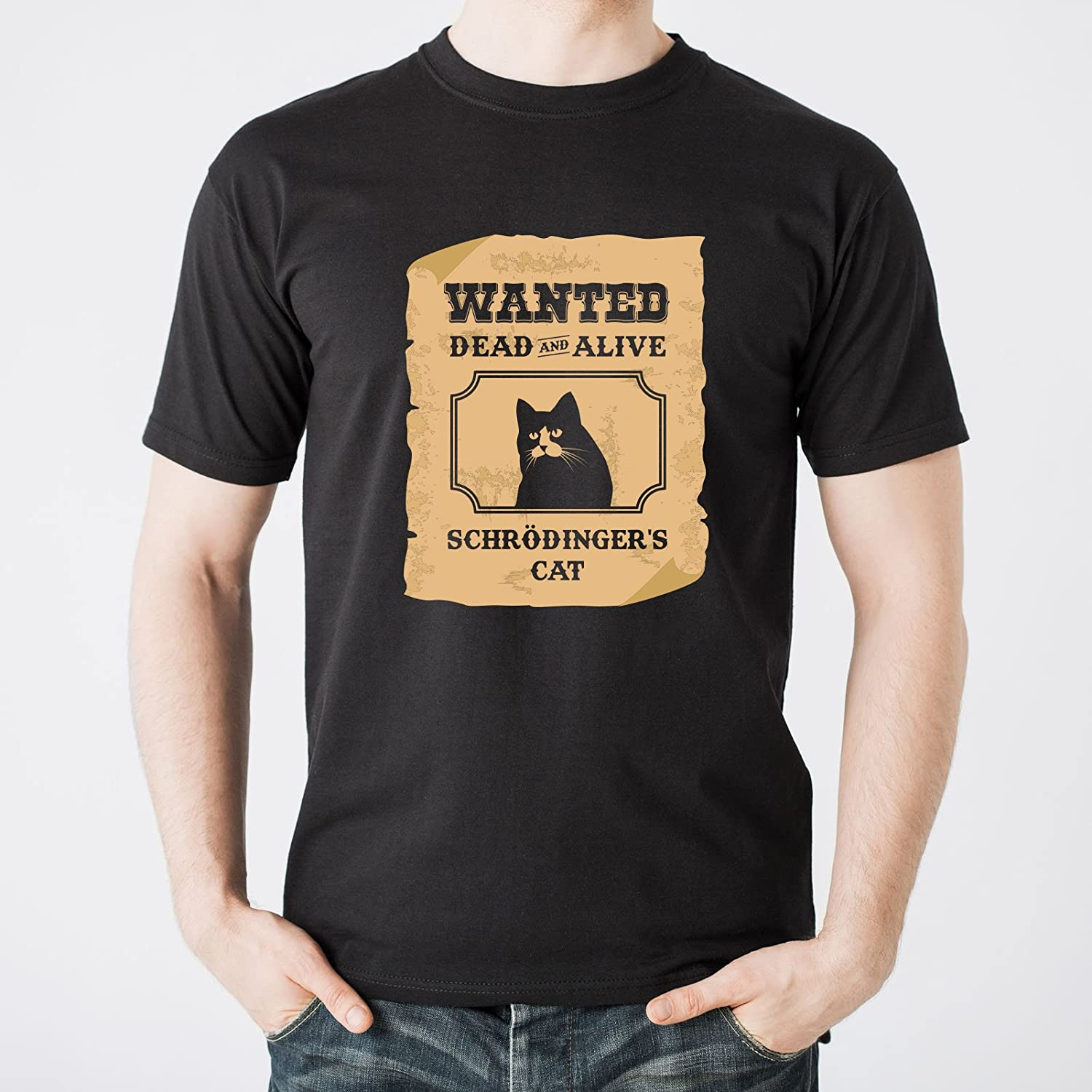 Wanted Dead and Alive Schrodingers Cat Basic Cotton T-Shirt
