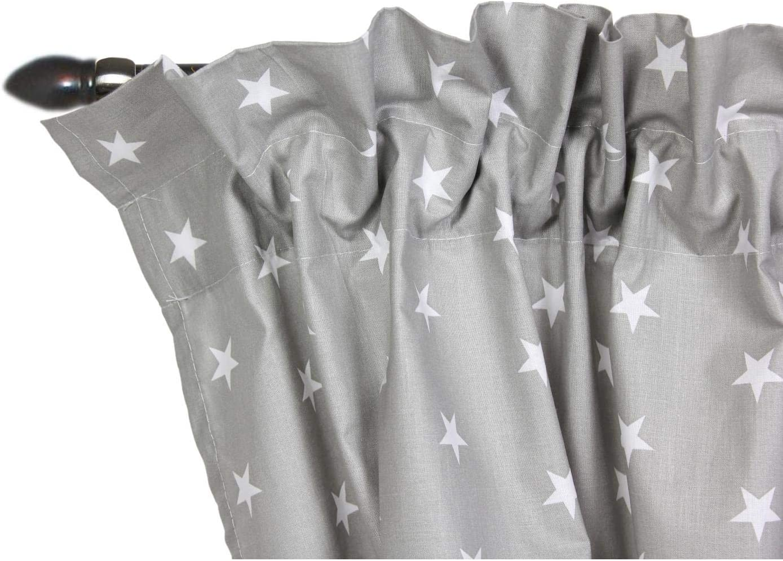 Farbe: Kr/äuselband Sterne Grau//Wei/ß 140 x 160 cm Gr/ö/ße: ca TupTam Kinderzimmer Voile Vorh/änge mit Kr/äuselband Set