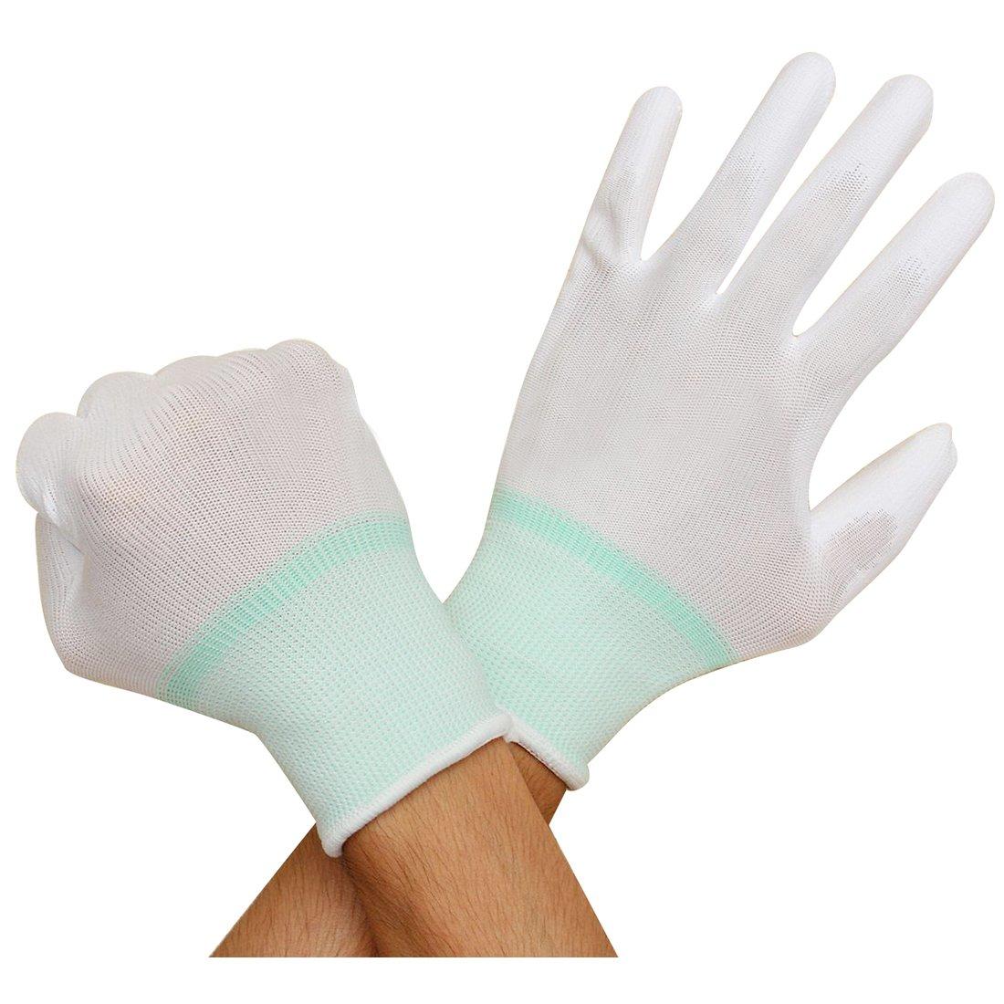 SODIAL(R) 1 Pair ESD PC Computer Working Anti-skid Anti Skid Anti-static White Gloves New