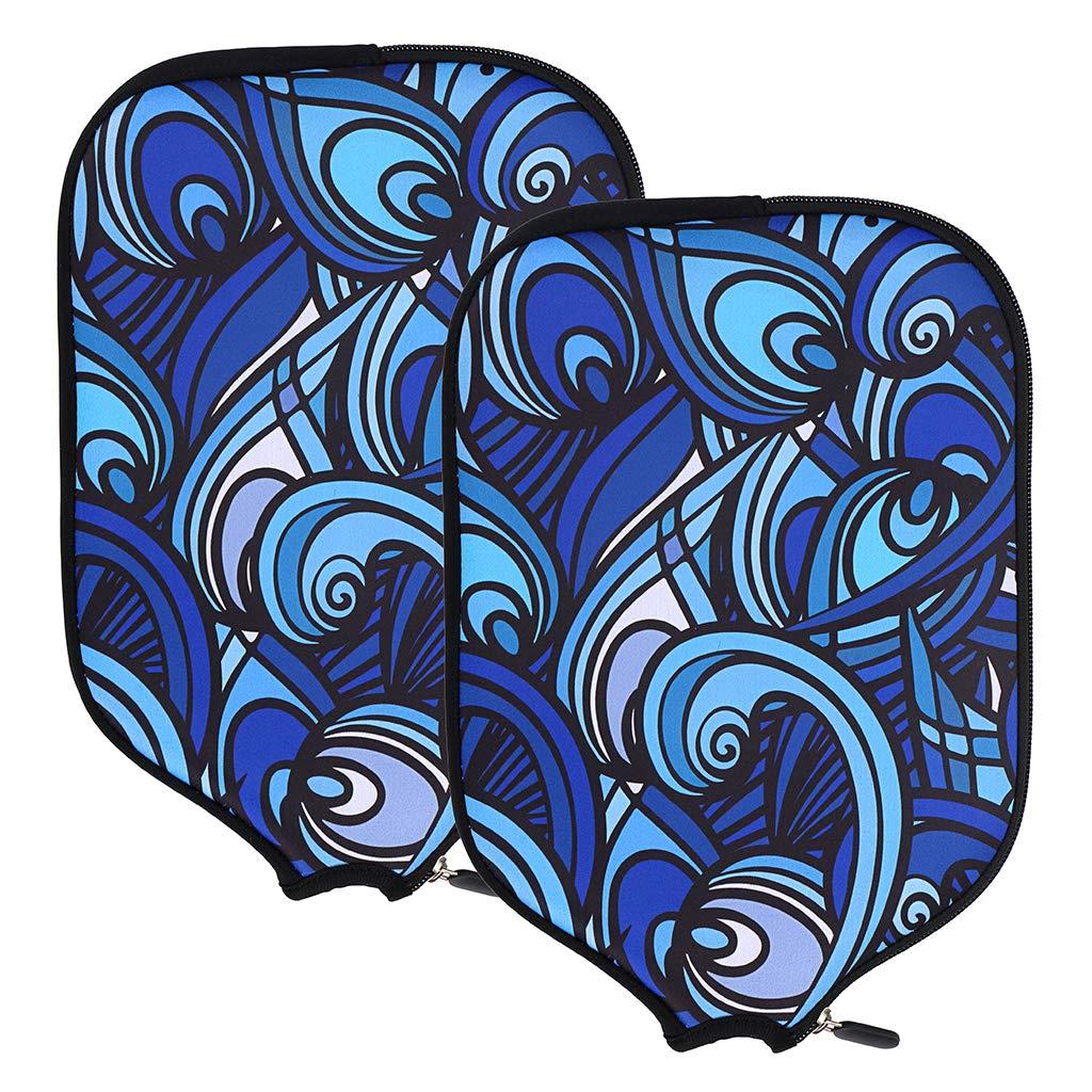 Hipiwe PickleballパドルカバーケースネオプレンPickleball Racquets Rackets保護カバースリーブバッグFits Most Rackets – Protect Yourパドル – パックof 2 B07F3Y5KL8 Ethnic Style Blue