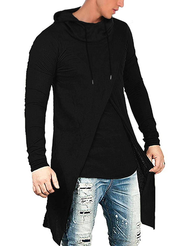 COOFANDY Mens Slim Fit Hoodie Lightweight Hooded Sweatshirt Casual Hip Hop Long Length Cloak Cotton Blend Pullover