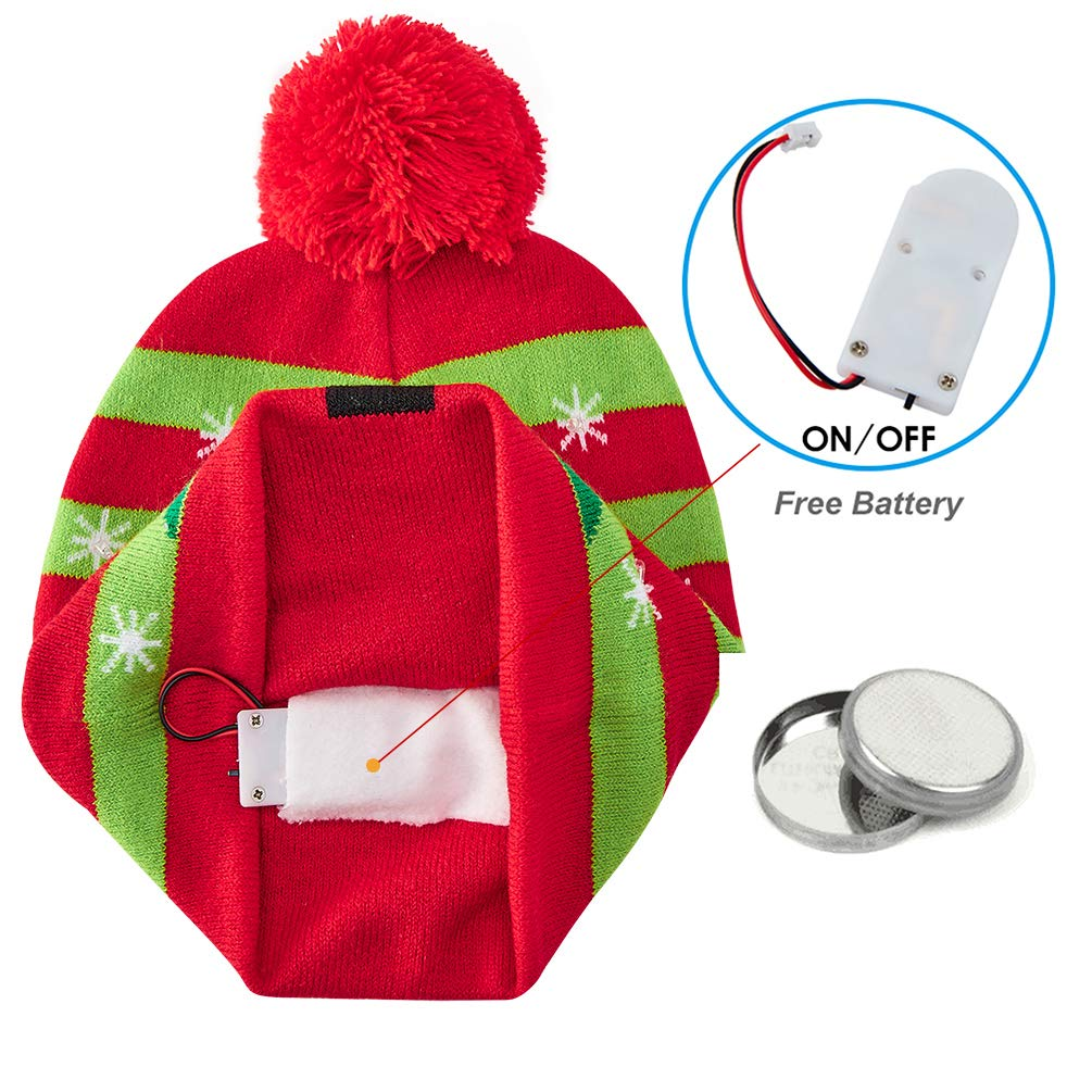 chicolife Ugly Christmas Hat Cute Winter Beanies Hat LED Light Up Xmas Tree Warm Knitted Cap for Youth Boys Girls Men Women