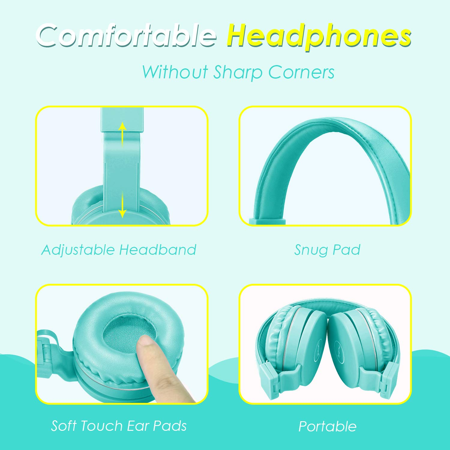 Kids Headphones, 85dB Volume Limiting Hearing Protection - with Microphone - Wired Children Foldable On Ear Headphones for Boys Girls Teens School (MintGreen)