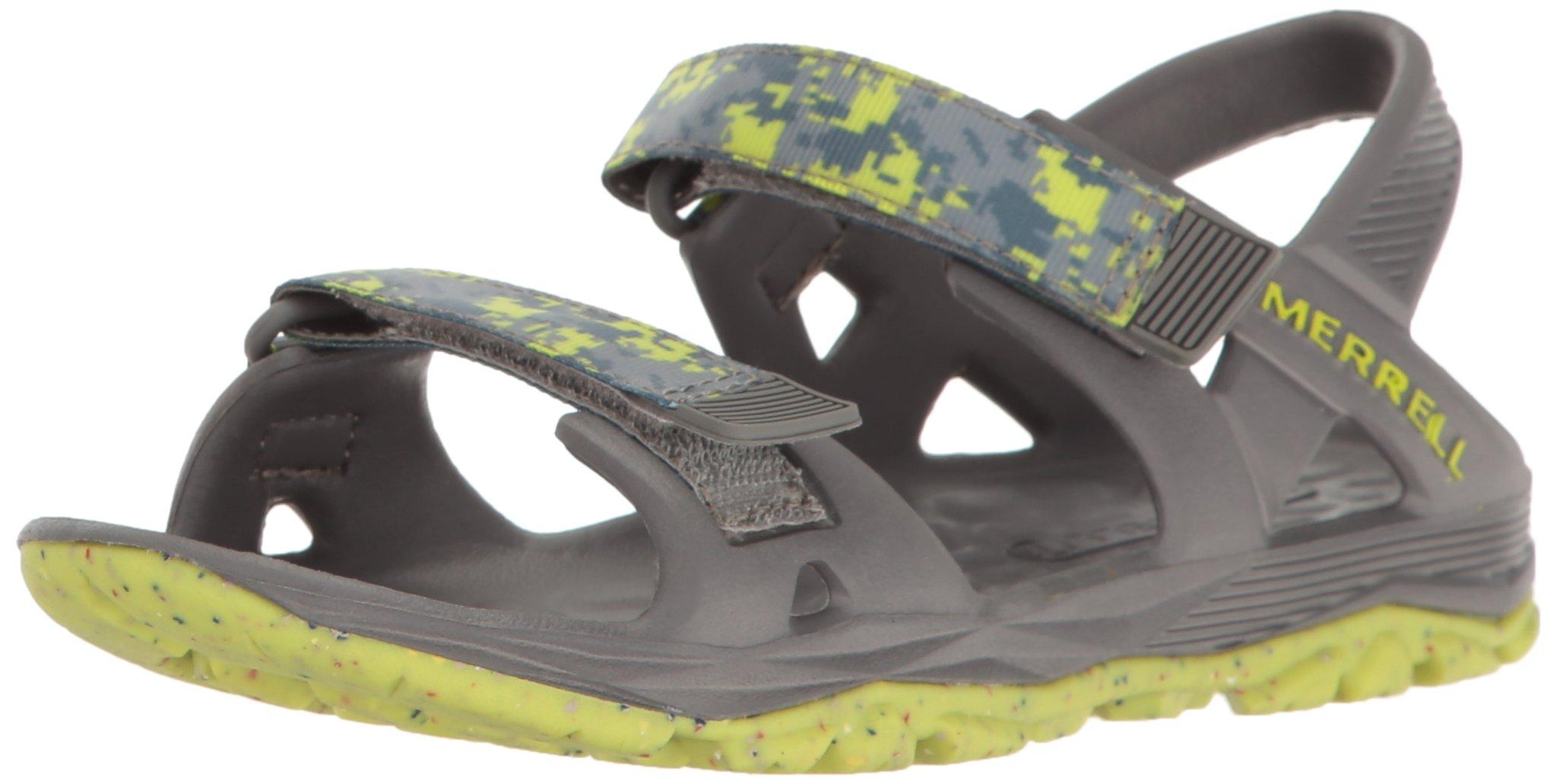 Merrell Hydro Drift Water Sandal, Grey/Lime, 2 M US Little Kid