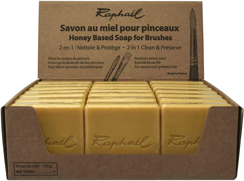Raphael Honey-Based Soap Bar for Cleaning /& Preserving Paint Brushes 100g