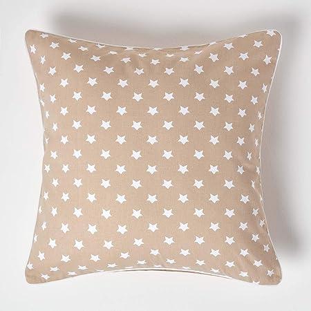 HOMESCAPES cojín Relleno Blando y Funda de algodón Color Beige con Estrellas Blancas 60x60cm: Amazon.es: Hogar