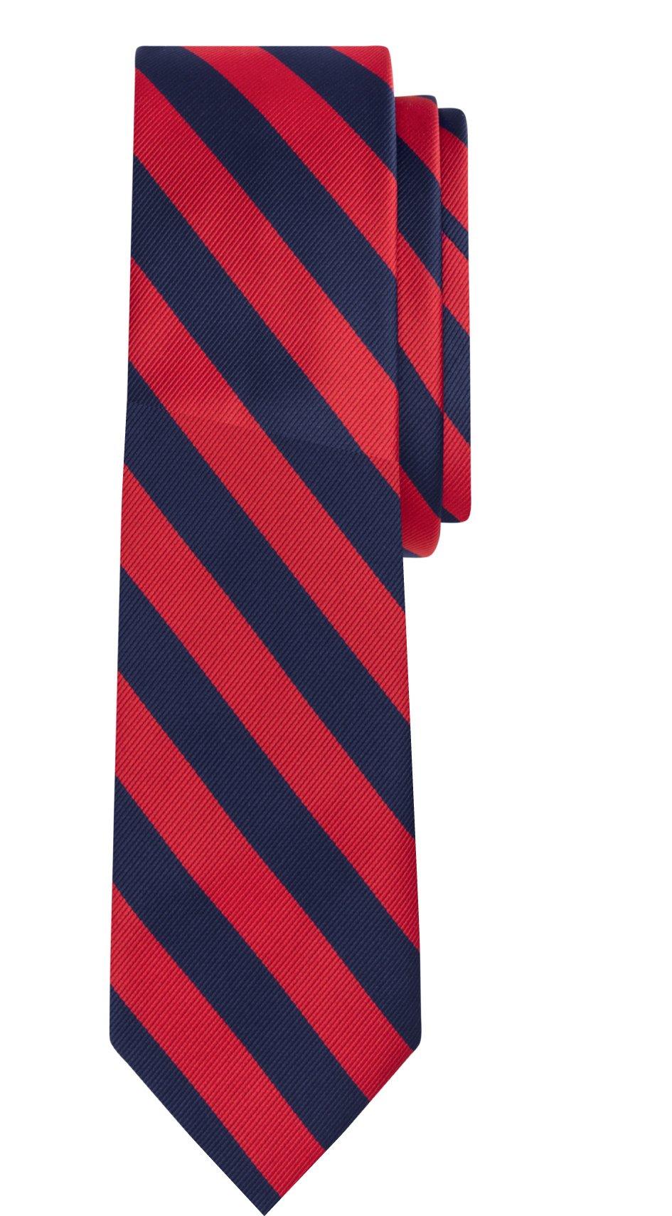 Jacob Alexander Stripe Woven Boys Regular College Striped Tie - Red Navy