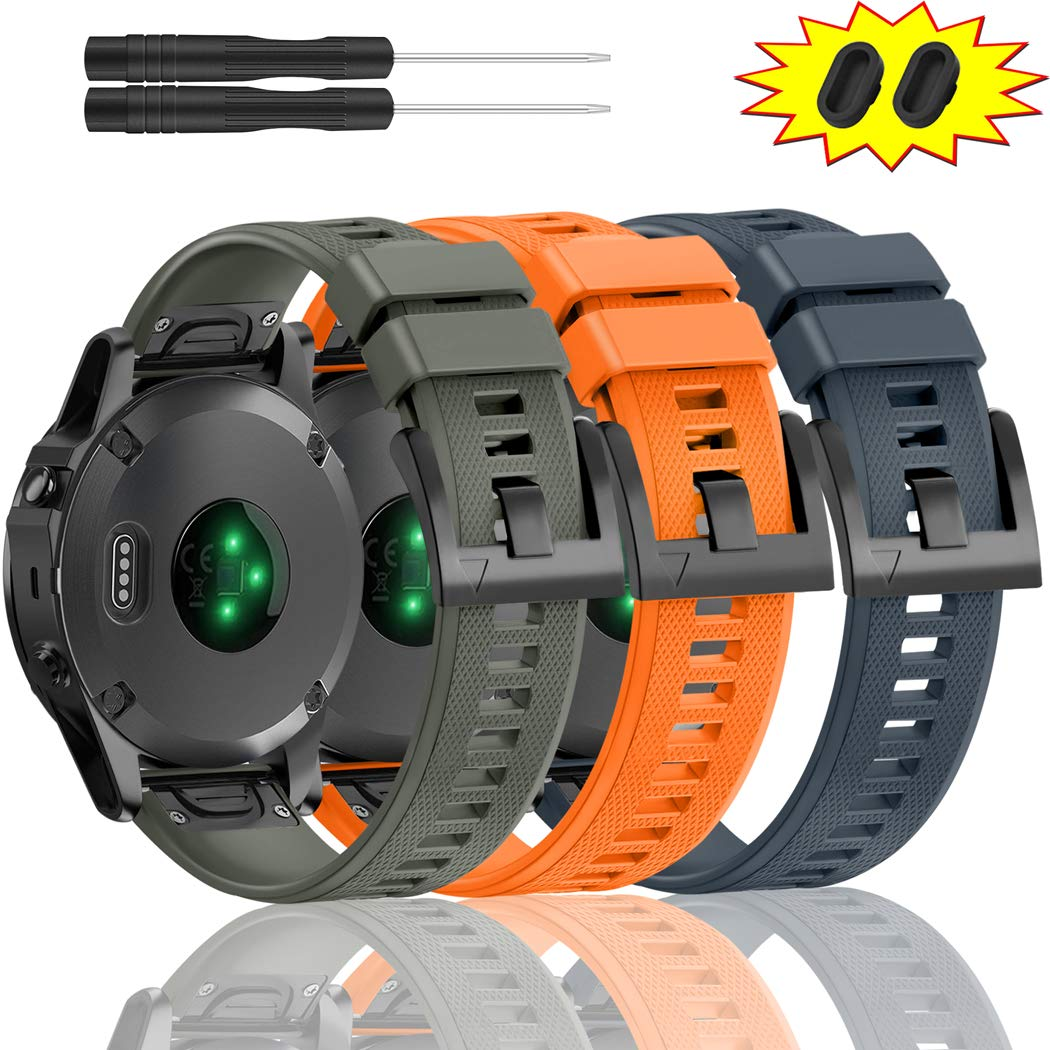 ZEROFIRE Bands for Garmin Fenix 5 and Fenix 5 Plus Watch Strap Replacement Silicone Band Compatible with Forerunner 935, 945, Approach S60, Quatix 5 Smartwatch, Including Anti-dust Plug - 3 Pcs by ZEROFIRE