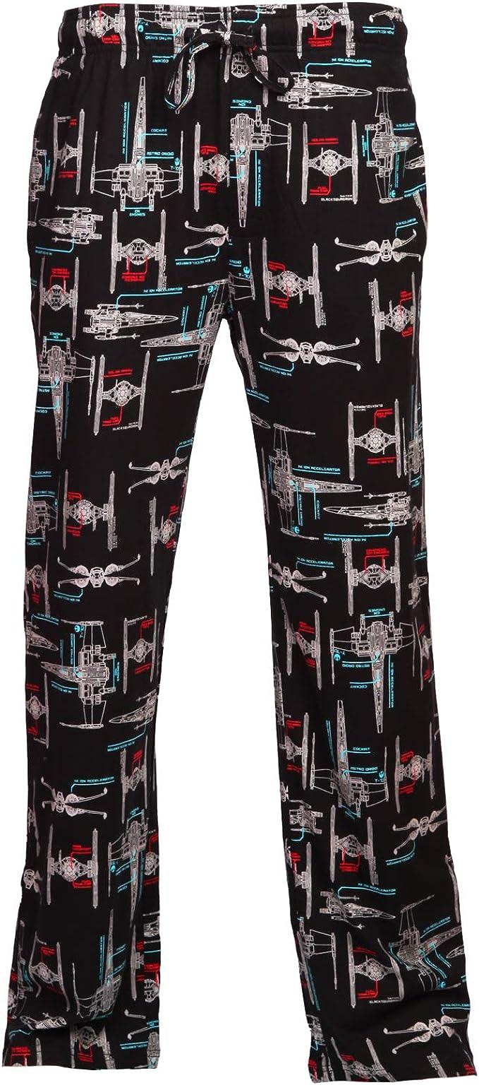 Star Wars Fighter Schematics Adult Lounge Pants - Black (Large)