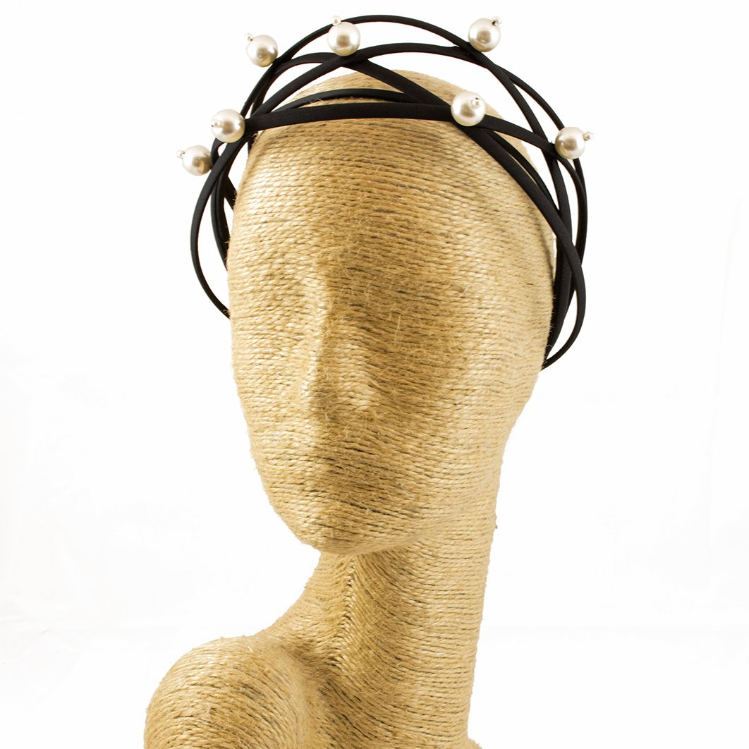 Fascinator, Pearl, Headbands, Millinery, Worldwide Free Shipment, Delivery in 2 Days, Head wrap, Bohemian Accessories, Headpieces, Head dress, Kentucky Derby Hat, Black and White, Gift Box