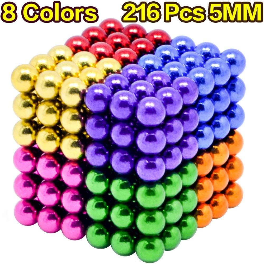MYYAGEW 5MM 216 Pieces Colored Magnetic Sculpture Building Blocks Office Desk Toys Stress Relief Magnet Toys Fidget Gadget Toys 8 Colors