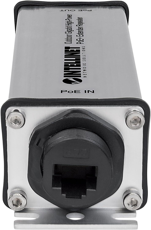 2 PSE-Ports Metall Schwarz intellinet 561266 2-Port Gigabit High-Power PoE Extender