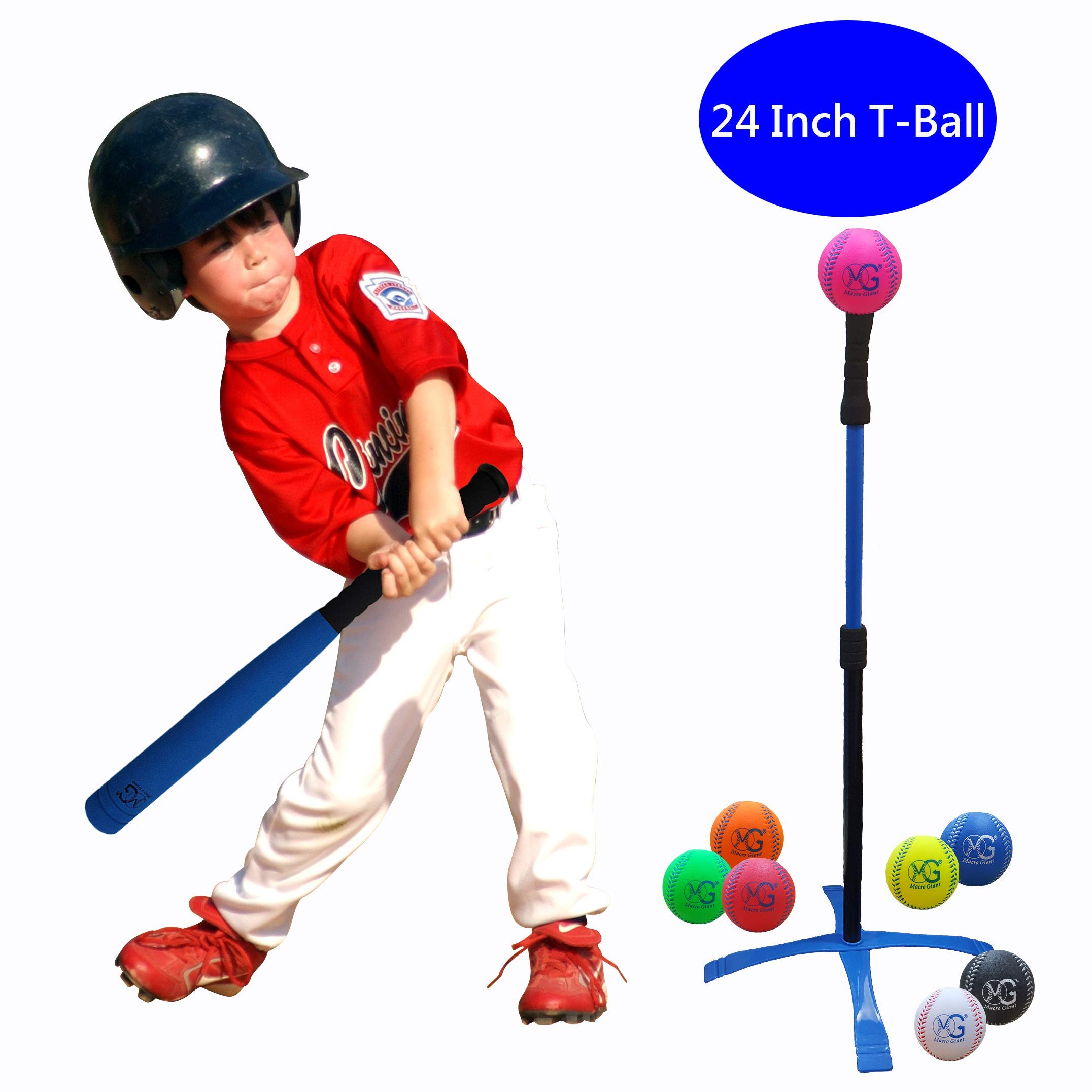 Macro Giant 24 Inch Safe T Ball, Tee Ball, T-Ball, Foam Bat and Baseball Set for Kids, 1 Blue/Red Bat, 8 Baseballs, Assorted Color, Training Practice, Youth Batting Trainer, School Playground, Kid Toy by MG MACRO GIANT