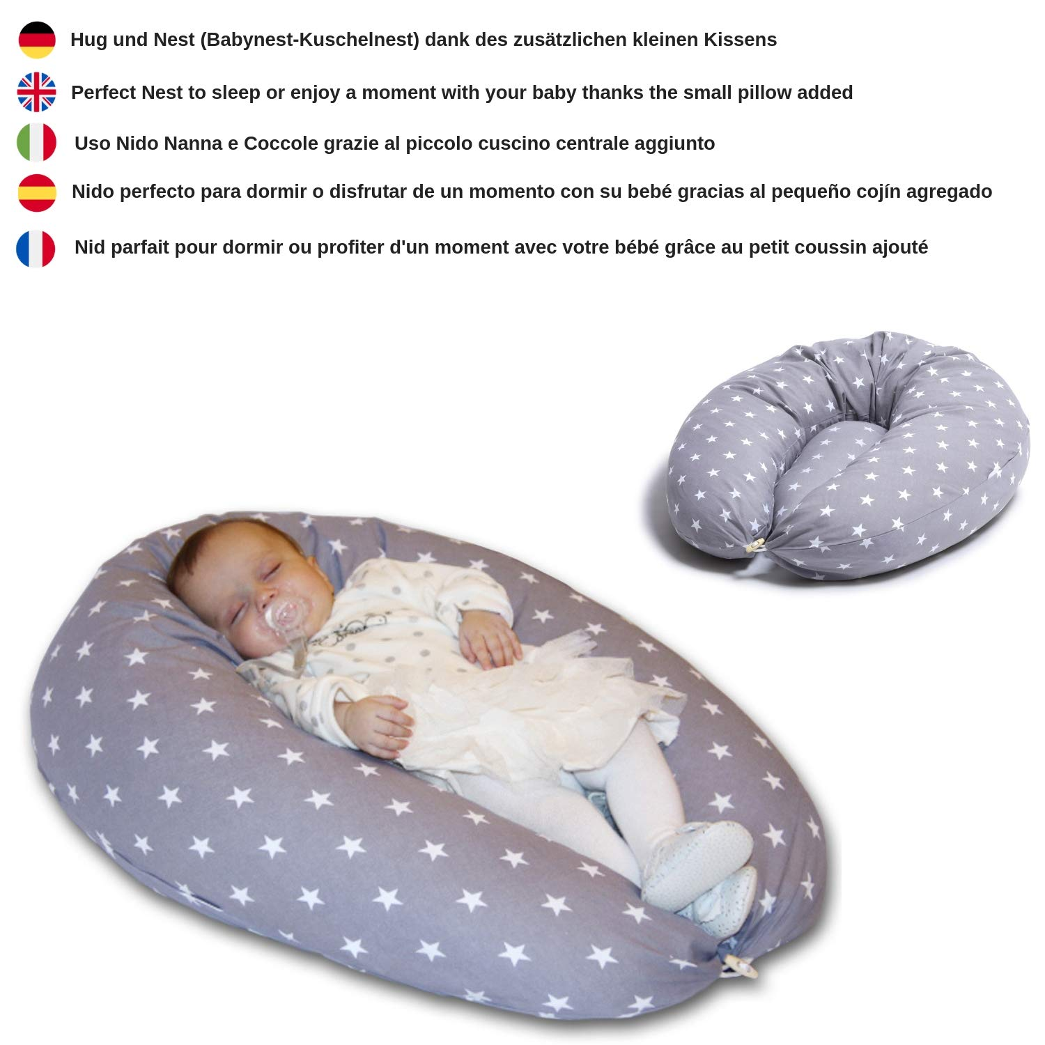 Inner Filling Polyester Fiber Nursing Pillow Maternity Pillow /& Pregnancy Pillow for Breastfeeding Baby and Full Body for Sleeping Large XXL Made in EU 100/% Cotton Pillow Case