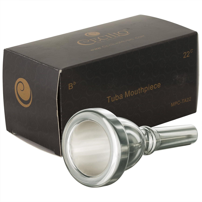 Cecilio Standard Tuba Mouthpiece, Silver Plated, Size 22 Cecilio Musical Instruments