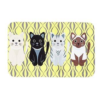 OuYou Felpudo Antideslizante Antipolvo Gatos de Dibujos Animados Alfombra de Suelo Entrada Baño Cocina (Amarillo, 50x80cm): Amazon.es: Hogar