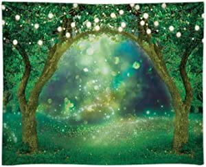 Funnytree 8x6FT Soft Fabric Spring Enchanted Garden Backdrop Forest Fairy Wonderland Woodland Background Wedding Baby Shower Birthday Party Banner Cake Smash Decor Studio Prop Photobooth Gift Favors