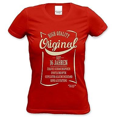 Damen Spruche Fun T Shirt Girlie Shirt 16 Geburtstag Original Seit