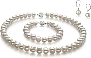 Kaitlyn White 8-9mm A Quality Freshwater 925 Sterling Silver Cultured Pearl Set For Women