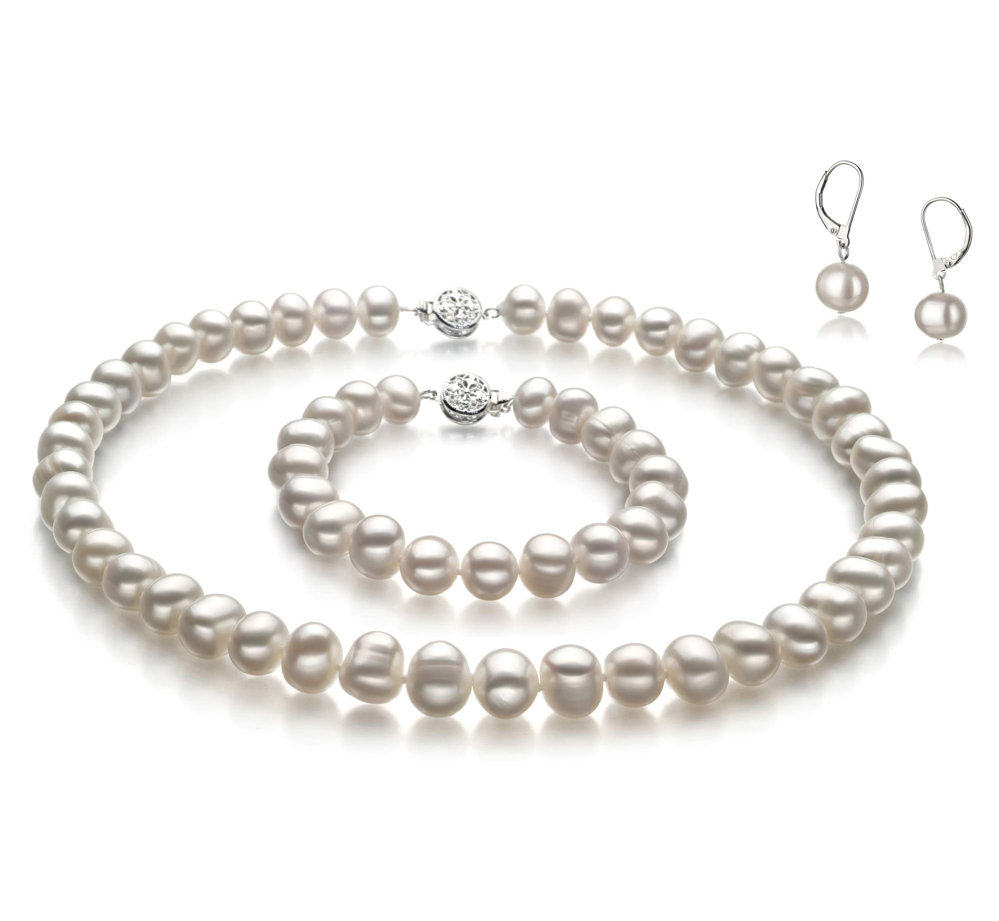 Kaitlyn White 8-9mm A Quality Freshwater Cultured Pearl Set for Women-16 in Chocker Length