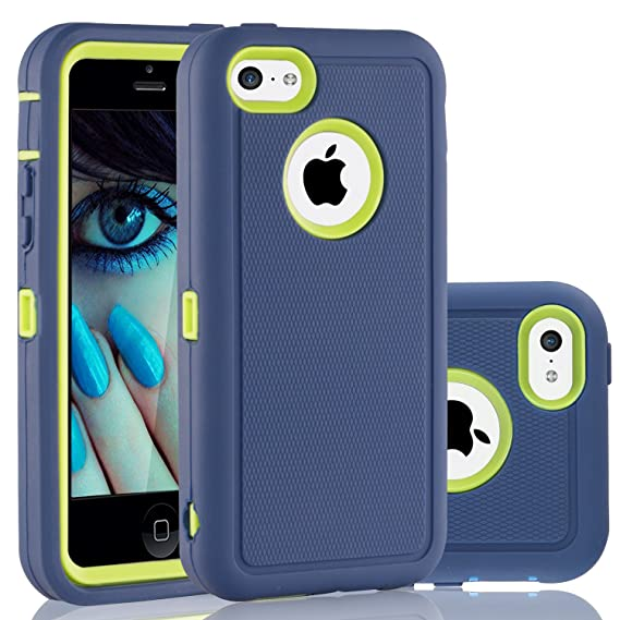 super popular 38c4d 69503 FOGEEK iPhone 5C Case, Dual Layer Anti Slip 360 Full Body Cover Case PC and  TPU Shockproof Protective Compatible for Apple iPhone 5C ONLY (Blue/Green)