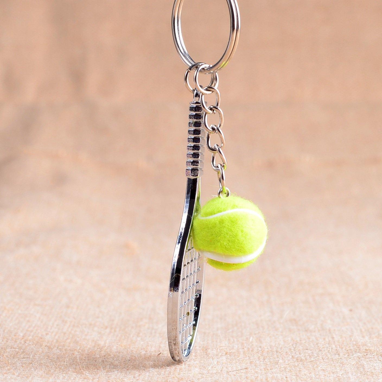 Wanrane レディース サプライ モダン スタイリッシュ ペンダント テニスラケットペンダント メタルキーリング 財布 ハンドバッグ カーチャームキーチェーン ギフト(グリーン)   B07HNYT2S5