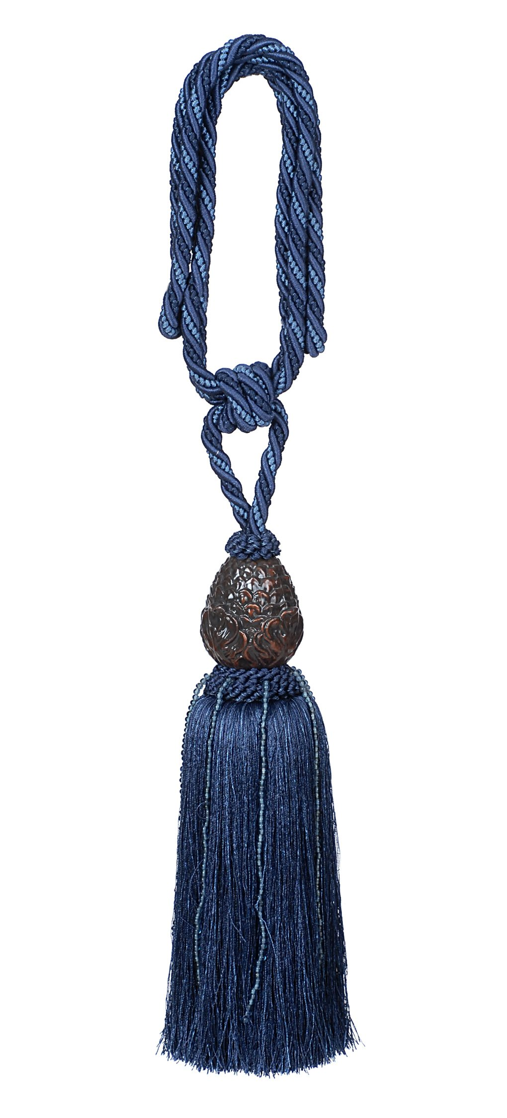 India House 76417 Pineapple Tieback with 12-Inch Single Tassel and 36-Inch Cord, Blue