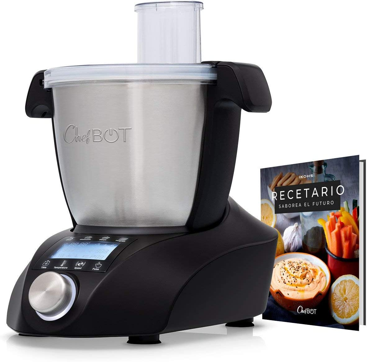 IKOHS CHEFBOT Compact - Robot de Cocina Multifunción, Compacto, Cocina al Vapor, 23 Funciones, 10 Velocidades con Turbo, Bol de Acero Inoxidable 2,2 L, Libre BPA (con Recetario - Negro)