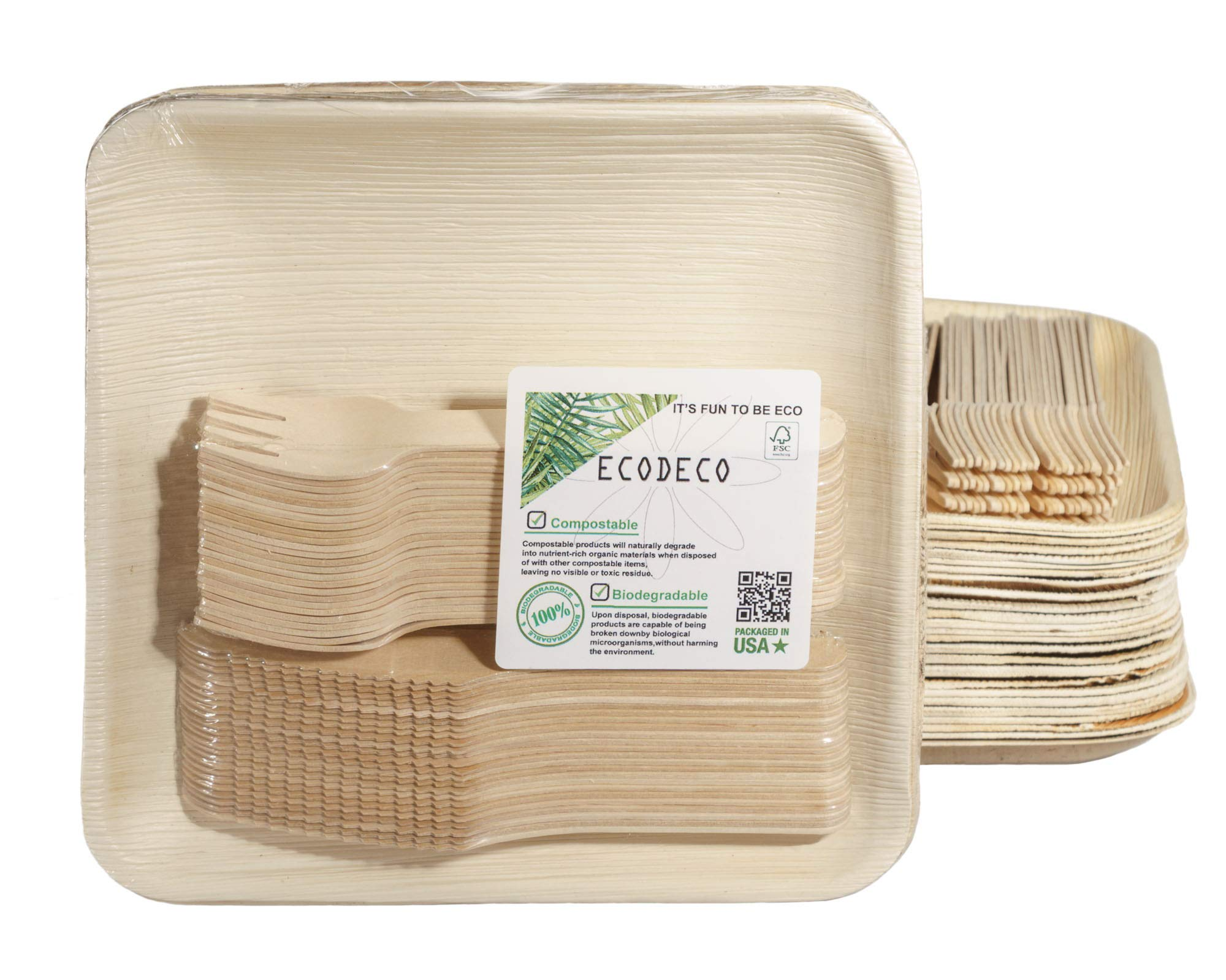 150 PCS Eco Friendly Disposable Dinnerware Set - 50 Palm Leaf Compostable 8'' Plates w/Wooden Cutlery - 50 Forks, 50 Knives for Party