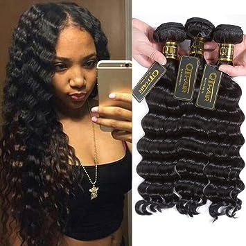 Sapphire Hair Peruvian Deep Wave Natural Black 4 Bundles With Free Part 4*4 Lace Closure 100% Human Hair Weaving With Closure Hair Extensions & Wigs Salon Bundle Pack
